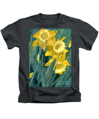 Watercolor Painting Of Blooming Yellow Daffodils Kids T-Shirt