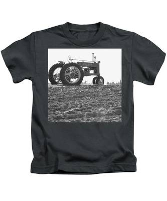 Old Tractor II In Black-and-white Kids T-Shirt
