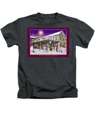 Winter At Zebs General Store In North Conway Nh Kids T-Shirt