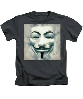 Kids T-Shirt featuring the digital art Anonymous by Charlie Roman