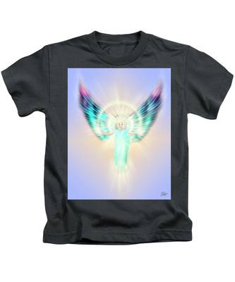 Kids T-Shirt featuring the digital art Archangel Uriel - Pastel by Endre Balogh