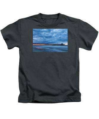 Before Sunrise At Folly Beach Pier, South Carolina Kids T-Shirt