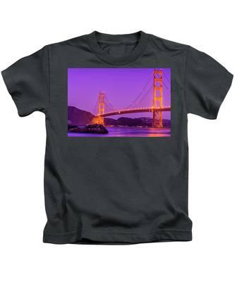 Golden Gate Bridge In The Blue Hour Kids T-Shirt