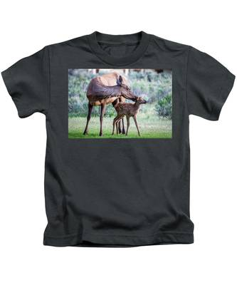 Cow And Calf Elk Kids T-Shirt