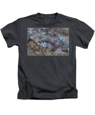Delaware River Ice With Leaves Kids T-Shirt