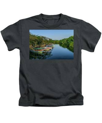 Boats By The River Kids T-Shirt