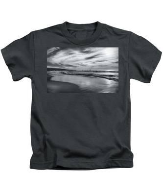 Hermosa Evening Black And White Kids T-Shirt