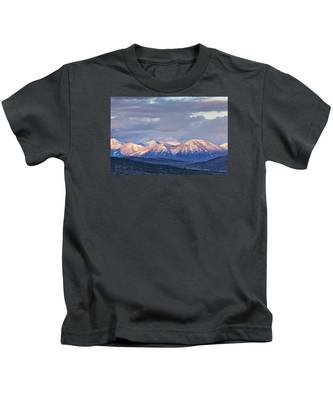 Last Light On Winter Peaks Kids T-Shirt