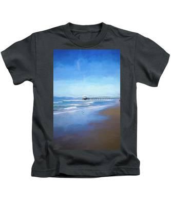 Manhattan Pier Blue Art Kids T-Shirt