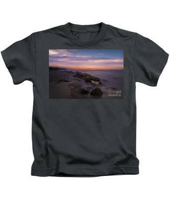 Montauk Sunset Boulders Kids T-Shirt