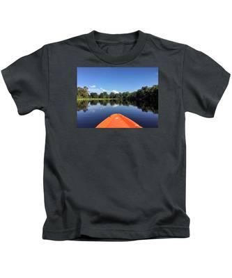 Orange Kayak  Kids T-Shirt