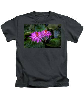 Pink Water Lilies Kids T-Shirt by Endre Balogh
