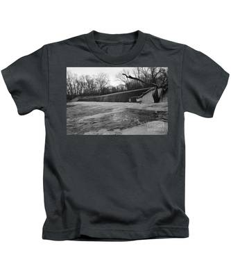 Falling Water On The Pompton Spillway In Winter Kids T-Shirt