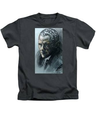 Charcoal Portrait Of President Obama Kids T-Shirt