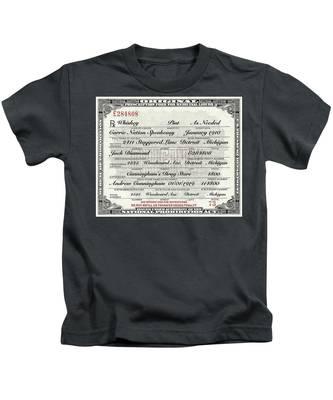 Prohibition Prescription Certificate Carrie Nation Speakeasy Kids T-Shirt