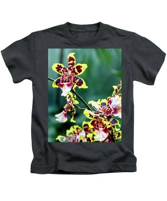 Striped Maroon And Yellow Orchid Kids T-Shirt
