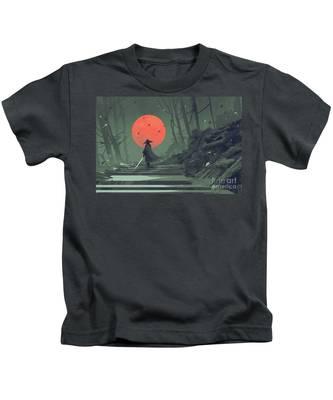 Red Moon Night Kids T-Shirt