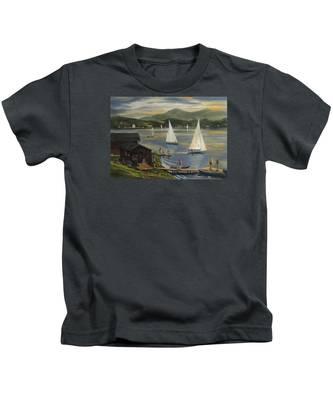 Sailing At Lake Morey Vermont Kids T-Shirt