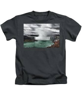 Storm At Niagara Kids T-Shirt