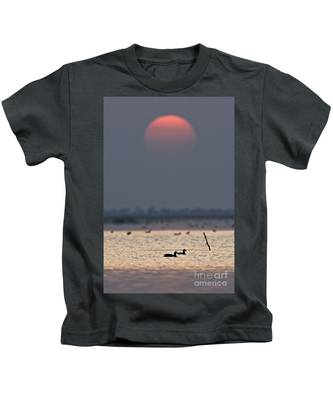 Sunset With Coots Kids T-Shirt