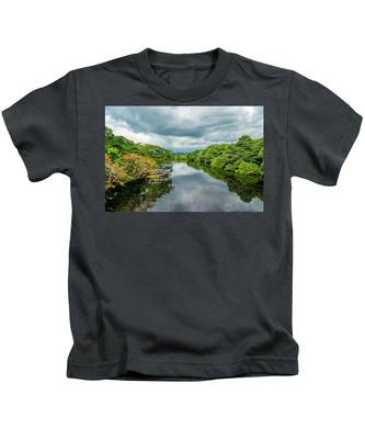Cloudy Skies Over The River Kids T-Shirt