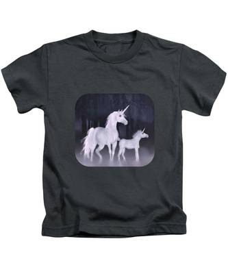 Unicorns In The Mist Kids T-Shirt