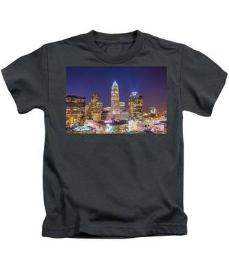 View Of Charlotte Skyline Aerial At Sunset Kids T-Shirt