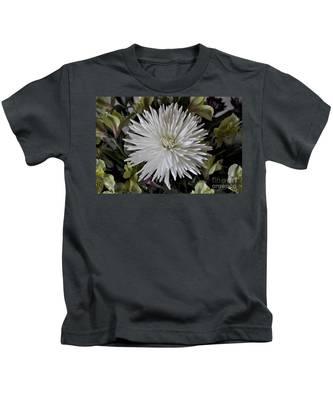 Kids T-Shirt featuring the photograph White Chrysanthemum by Bridgette Gomes