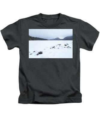 Snow Cover Jordan Pond Kids T-Shirt