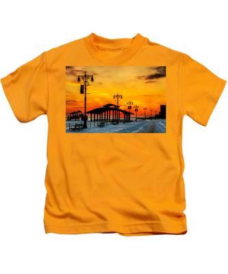Coney Island Winter Sunset Kids T-Shirt