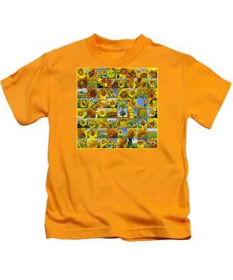Sunflower Field Collage In Yellow Kids T-Shirt