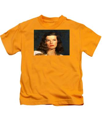 Portrait Of Katherine Hepburn Kids T-Shirt
