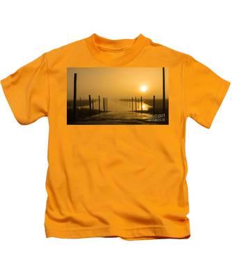 Golden Fog On The Nissequogue Kids T-Shirt