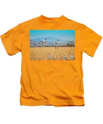 Sandhill Cranes In Flight Kids T-Shirt