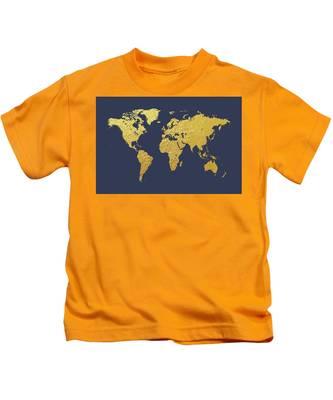World Map Gold Foil Kids T-Shirt