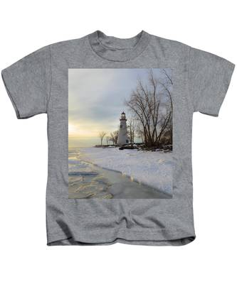 Marblehead Lighthouse Winter Sunrise Kids T-Shirt