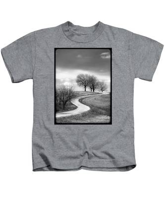 A Winding Country Road In Black And White Kids T-Shirt
