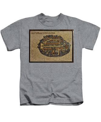 Ancient Jerusalem Mosaic Map Color Framed Kids T-Shirt
