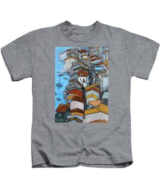 Boats In Front Of The Buildings Iv Kids T-Shirt
