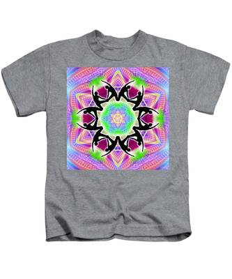 Kids T-Shirt featuring the digital art Cosmic Spiral Kaleidoscope 08 by Derek Gedney