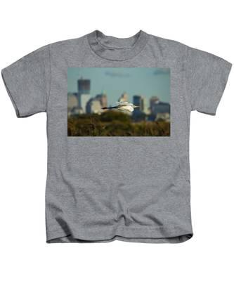 Flight Of The Great Egret Kids T-Shirt