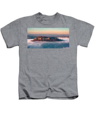 Fog Surrounding The Fortress Koenigstein Kids T-Shirt