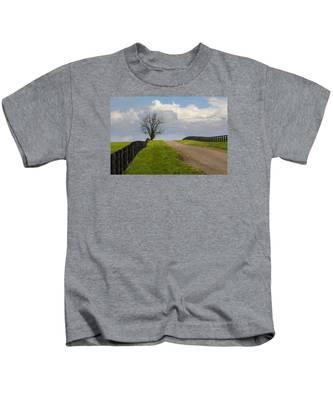 Kentucky Horse Farm Road Kids T-Shirt