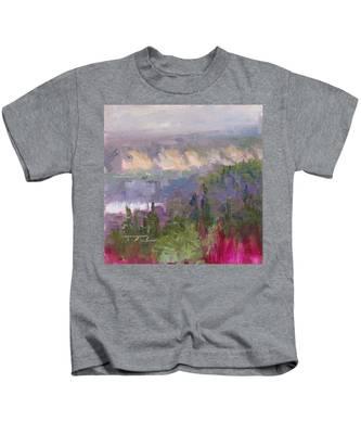 Silver And Gold - Matanuska Canyon Cliffs River Fireweed Kids T-Shirt