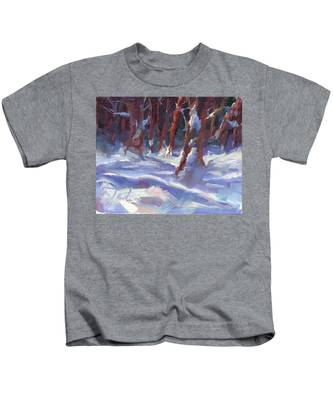 Snow Laden - Winter Snow Covered Trees Kids T-Shirt