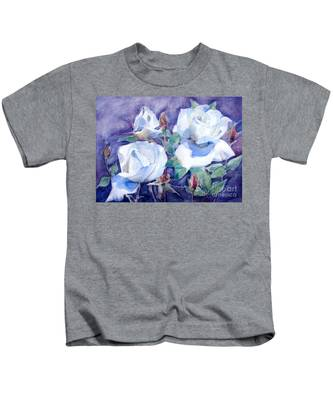 White Roses With Red Buds On Blue Field Kids T-Shirt