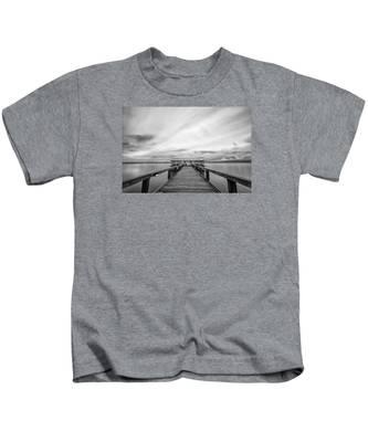 Melbourne Beach Pier Sunset Kids T-Shirt