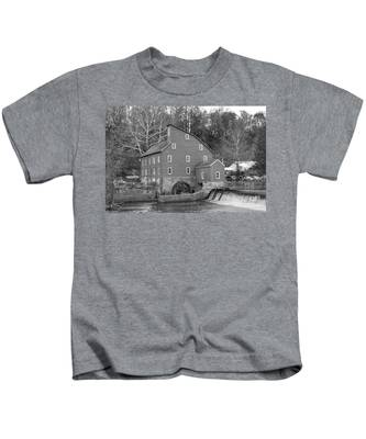 Gray Autumn At The Old Mill In Clinton Kids T-Shirt