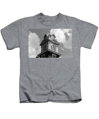 Historic Courthouse Steeple In Bw Kids T-Shirt