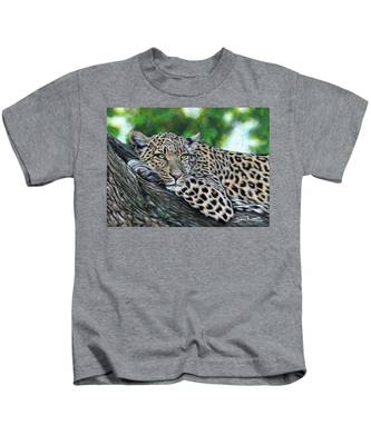 Leopard On Branch Kids T-Shirt